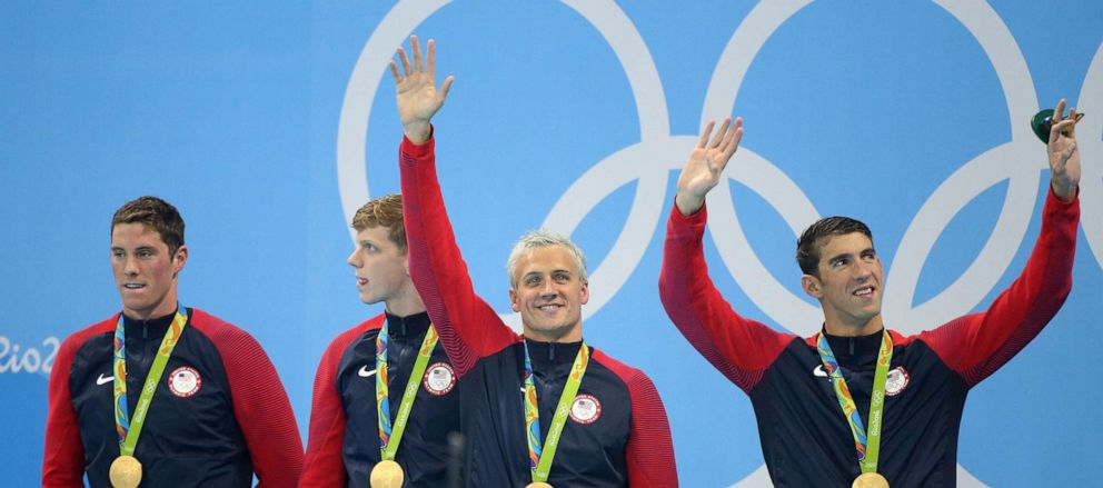 PHOTO: Team USA celebrates winning the gold medal during the medal ceremony of the men's 200m freestyle relay at Olympic Aquatics Stadium on Aug. 9, 2016 in Rio de Janeiro, Brazil.